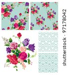vector floral repeat patterns.  ... | Shutterstock .eps vector #97178042
