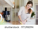 Young Woman Doing Housework ...