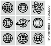 Globes - vector black icons set. - stock vector