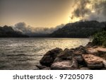 Storm lake - stock photo