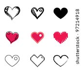 heart icons vector set | Shutterstock .eps vector #97214918