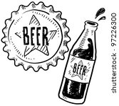 Doodle style beer bottle and cap sketch in vector format - stock vector