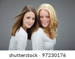 studio portrait of two pretty... | Shutterstock . vector #97230176