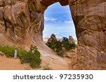 View through Pine Tree Arch. Arches National Park.,Utah, USA - stock photo
