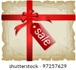vintage torn sheet with ribbons ... | Shutterstock .eps vector #97257629