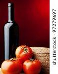 red wine bread tomato cheese | Shutterstock . vector #97279697