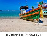 an old wooden fishing boat is... | Shutterstock . vector #97315604