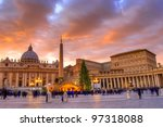 Saint Peter's Square At Sunset...