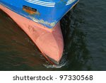 bow of a freighter - stock photo