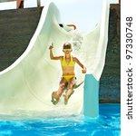child on water slide at... | Shutterstock . vector #97330748