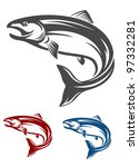 jumping salmon fish in retro... | Shutterstock .eps vector #97332281