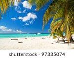 Caribbean Beach With Palms ...
