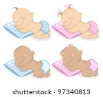 sleeping babies boy and girl in ... | Shutterstock .eps vector #97340813