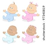 happy babies boy and girl in... | Shutterstock .eps vector #97340819