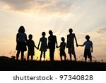 group of happy children playing ... | Shutterstock . vector #97340828