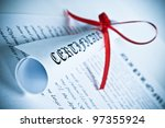 Diploma with red ribbon - stock photo