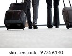 business travellers walking in... | Shutterstock . vector #97356140