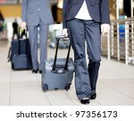 passengers walking in airport... | Shutterstock . vector #97356173