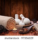 spa massage setting with thai... | Shutterstock . vector #97356329