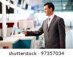 handsome businessman handing... | Shutterstock . vector #97357034