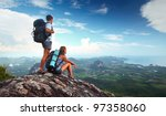 young tourists with backpacks... | Shutterstock . vector #97358060