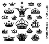 set of various crowns isolated... | Shutterstock .eps vector #97359638