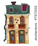 vintage facade   cartoon | Shutterstock .eps vector #97372532