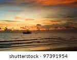Thailand fishing boat at a beautiful sunset - stock photo