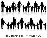 Large Set Of Silhouettes Of...