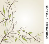 stylized willow branch. | Shutterstock .eps vector #97451645