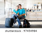 loving young couple waiting for ... | Shutterstock . vector #97454984