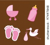 baby shower elements  pink.... | Shutterstock .eps vector #97497848