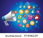 vector icon megaphone with icon ... | Shutterstock .eps vector #97498229