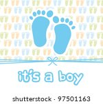 It Is A Boy Card With Footprint ...