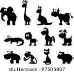 Stock vector cartoon silhouettes of animals 97505807