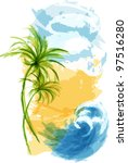 summer tropical background.... | Shutterstock .eps vector #97516280