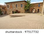 Main Square in small italian town Murlo, Tuscany, Italy, Europe - stock photo