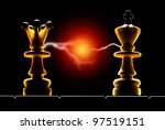 Queen and king on a black background. Art illumination. - stock photo