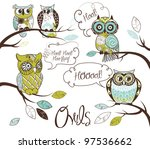 Stock vector collection of five different owls with speech bubbles 97536662