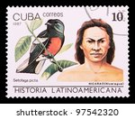 Small photo of CUBA - CIRCA 1987: The postal stamp printed in CUBA shows Nicarao (Nicaragua) and Setotaga picta, series History of Latin America, circa 1987
