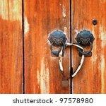 Old Wooden Door With Dragon...