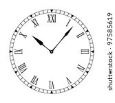 Black And White Clock Face Wit...