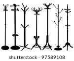 hat stand silhouette set | Shutterstock .eps vector #97589108