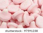 Strawberry Mushrooms - Mushroom shaped strawberry flavour sweets close up. - stock photo