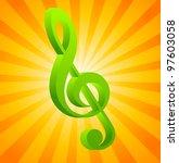 g clef on orange background... | Shutterstock .eps vector #97603058