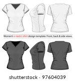 vector. women's v neck t shirt...   Shutterstock .eps vector #97604039