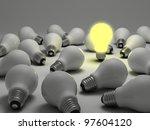 one glowing light bulb amongst... | Shutterstock . vector #97604120