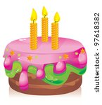 colorful birthday cake with candles - stock photo