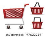 shopping cart and basket | Shutterstock .eps vector #97622219