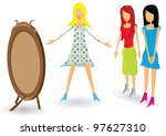 girls and new dress. | Shutterstock . vector #97627310
